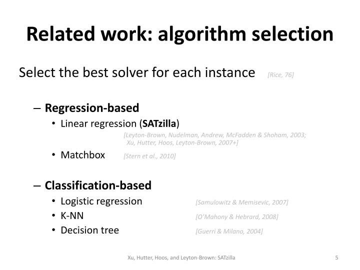 Related work: algorithm selection