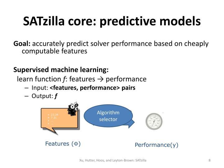 SATzilla core: predictive models