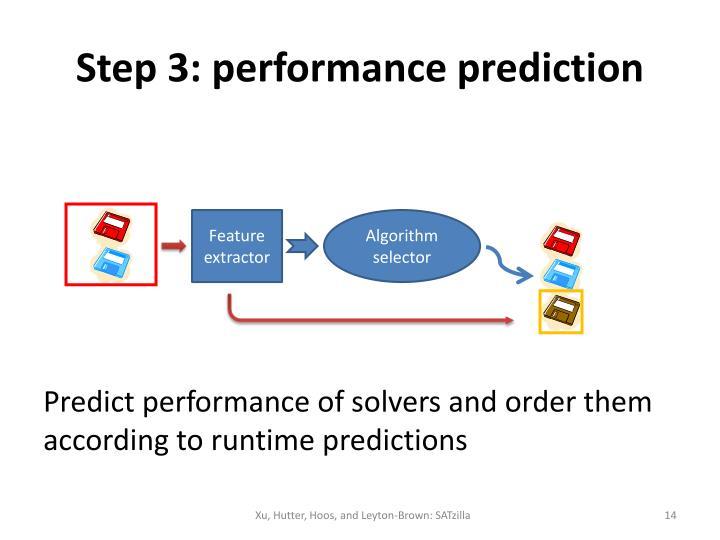 Step 3: performance prediction