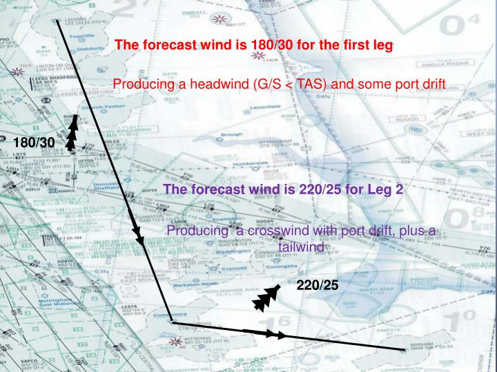 The forecast wind is 180/30 for the first leg