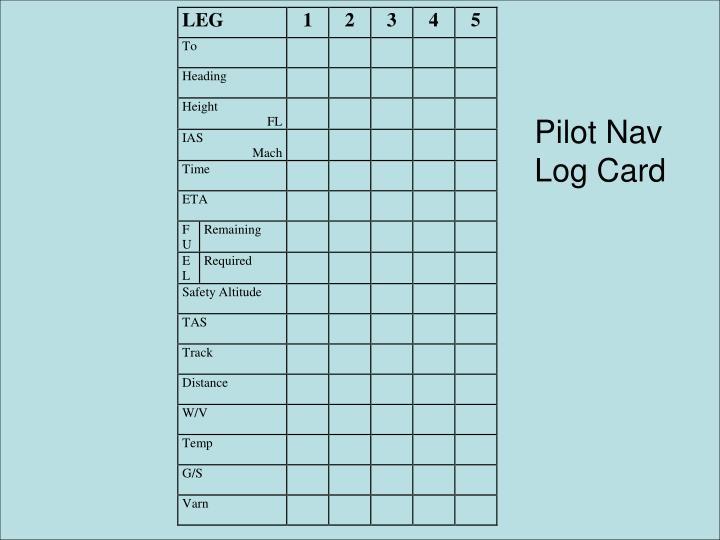 Pilot Nav Log Card