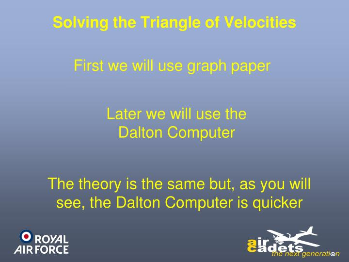 Solving the Triangle of Velocities