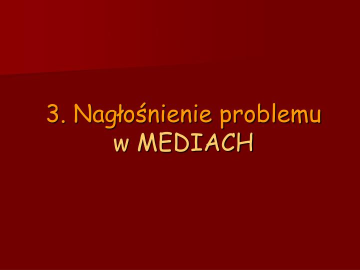 3. Nagłośnienie problemu