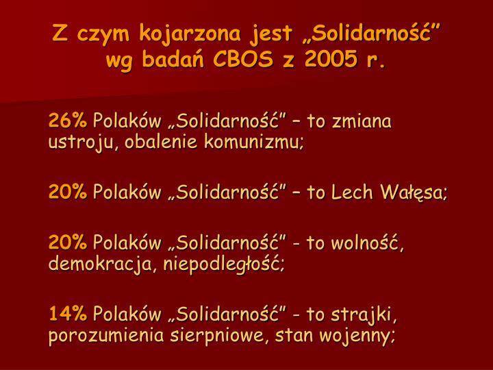 Z czym kojarzona jest solidarno wg bada cbos z 2005 r