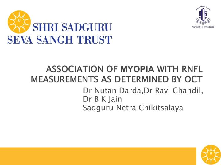 association of myopia with rnfl measurements as determined by oct n.