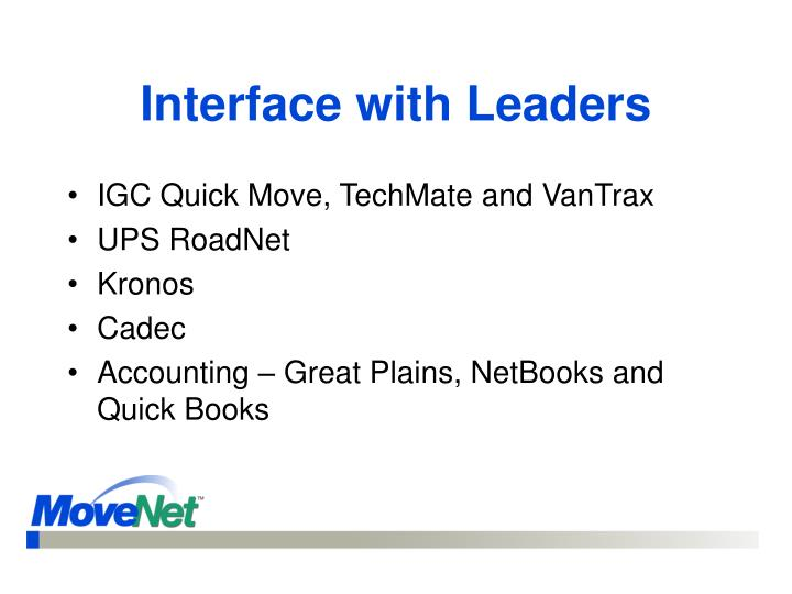 Interface with Leaders