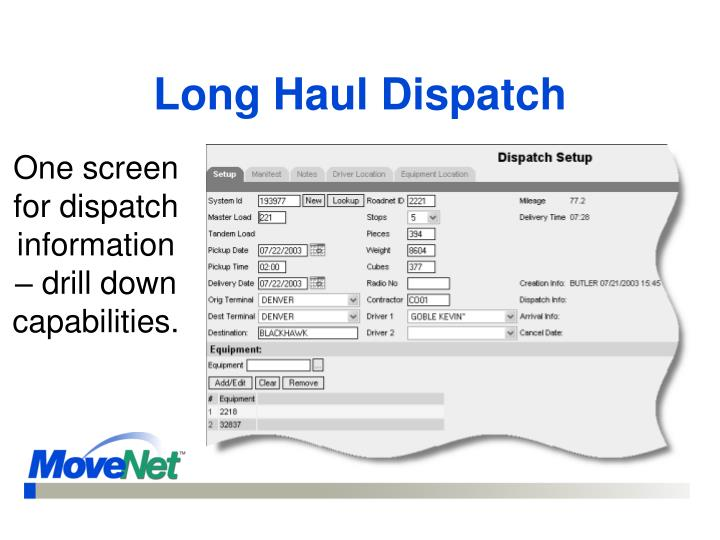 Long Haul Dispatch