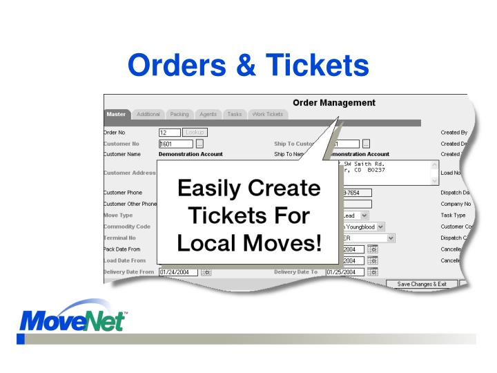 Orders & Tickets