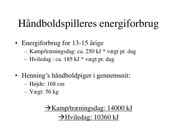 H ndboldspilleres energiforbrug
