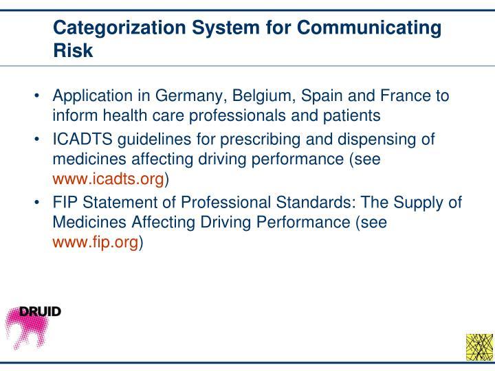 Categorization System for Communicating Risk