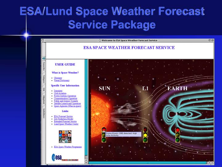 ESA/Lund Space Weather Forecast Service Package