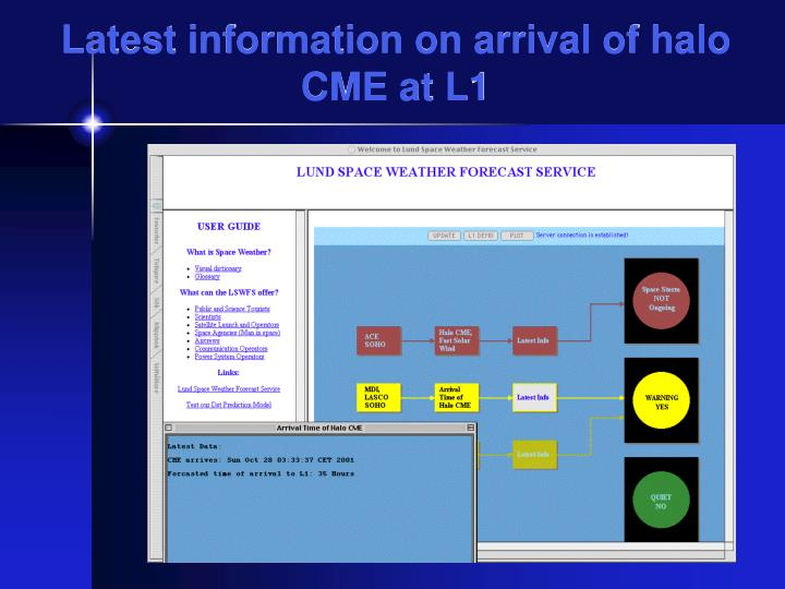 Latest information on arrival of halo CME at L1