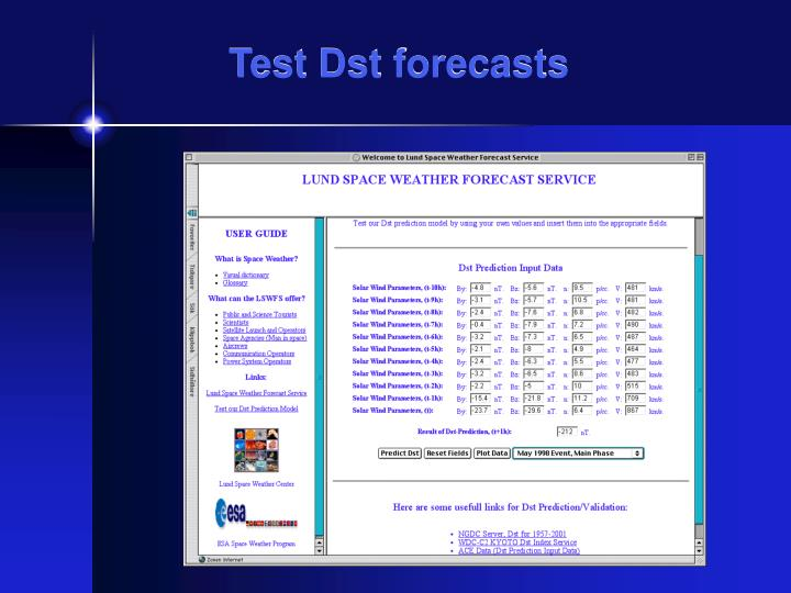 Test Dst forecasts