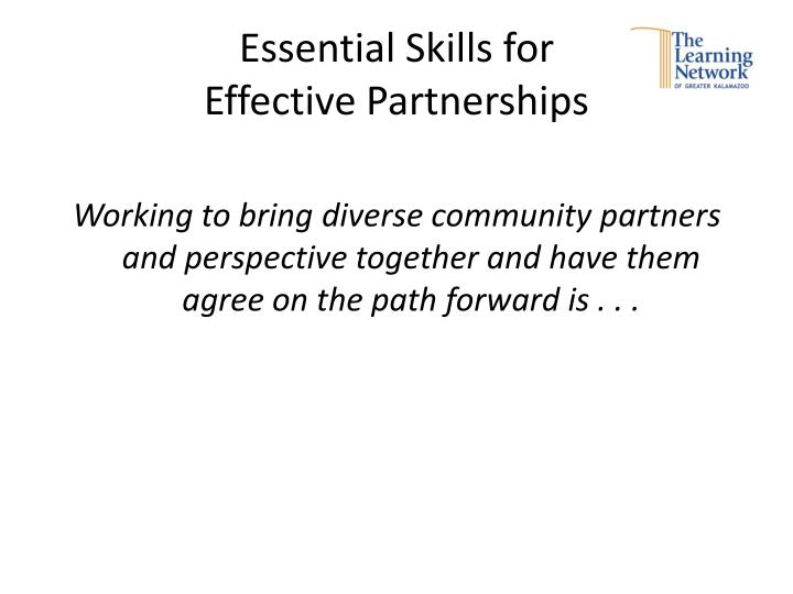 essential skills for effective partnerships n.