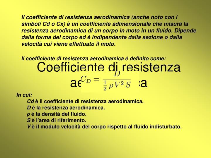 Coefficiente di resistenza aerodinamica