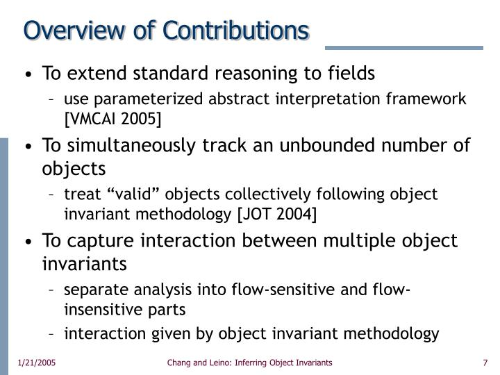 Overview of Contributions
