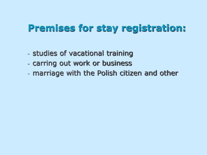 Premises for stay registration: