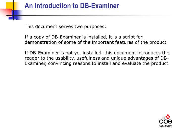 An introduction to db examiner