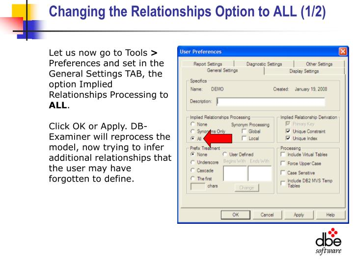 Changing the Relationships Option to ALL (1/2)