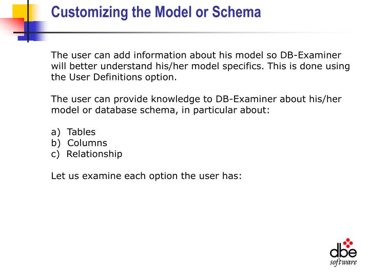 Customizing the Model or Schema