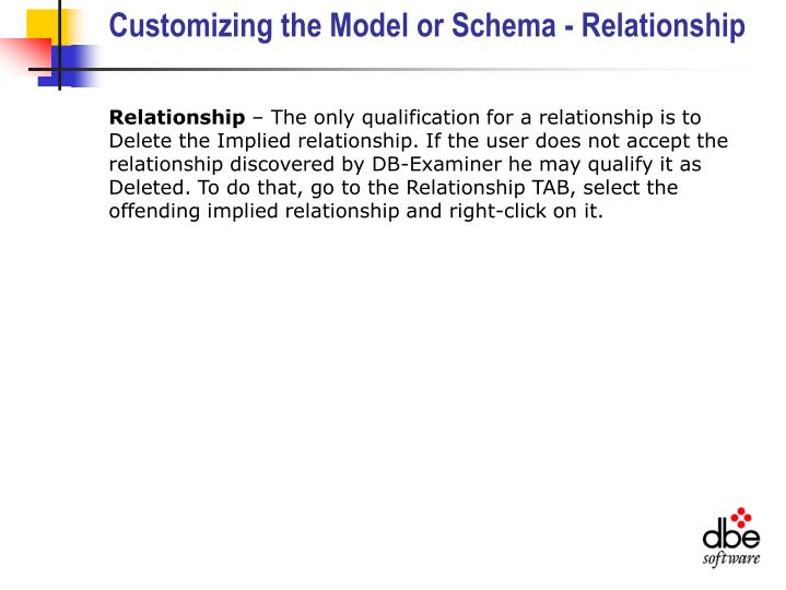 Customizing the Model or Schema - Relationship
