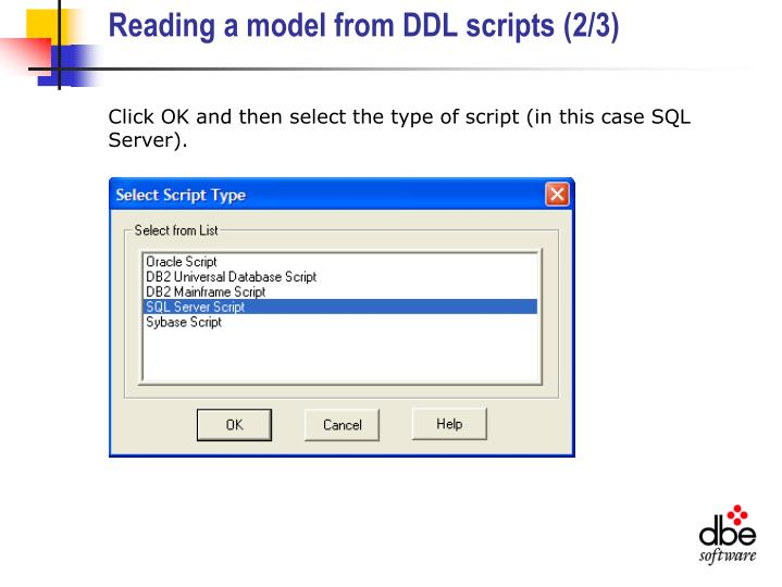 Reading a model from DDL scripts (2/3)
