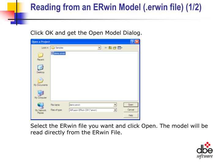 Reading from an ERwin Model (.erwin file) (1/2)