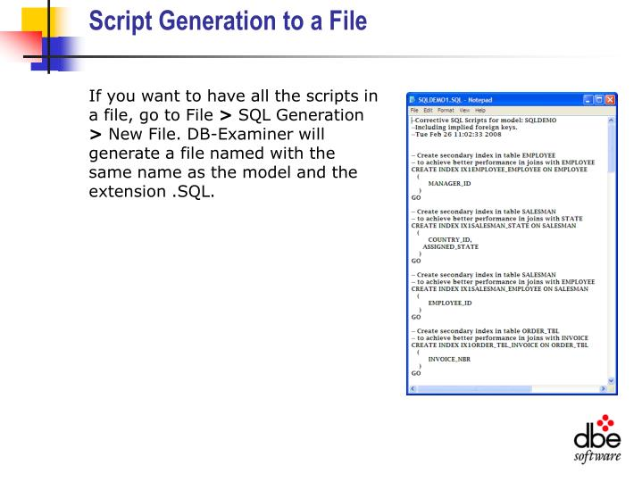 Script Generation to a File