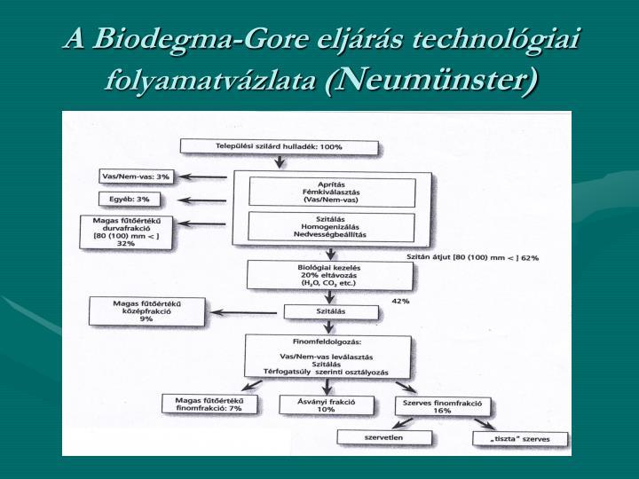 A Biodegma-Gore eljárás technológiai folyamatvázlata (