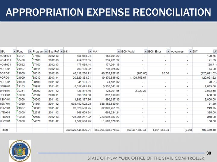 Appropriation Expense Reconciliation