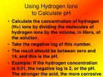 using hydrogen ions to calculate ph