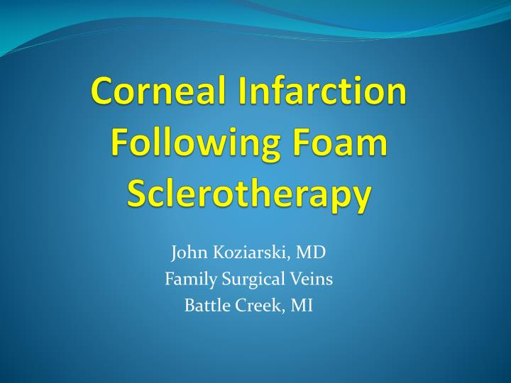Corneal infarction following foam sclerotherapy