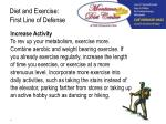 diet and exercise first line of defense