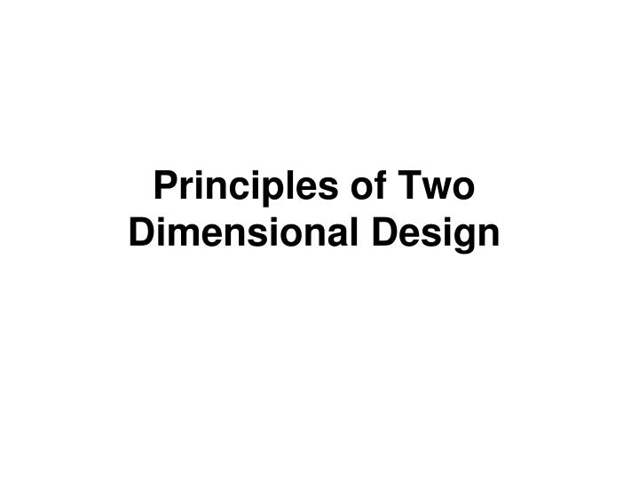 principles of two dimensional design n.