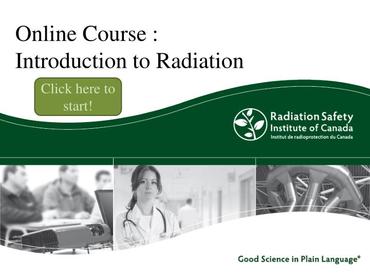 Online course introduction to radiation