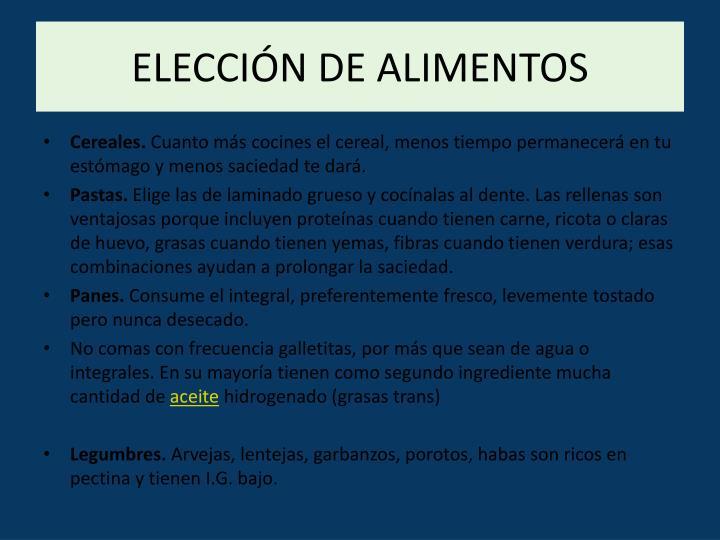 ELECCIÓN DE ALIMENTOS