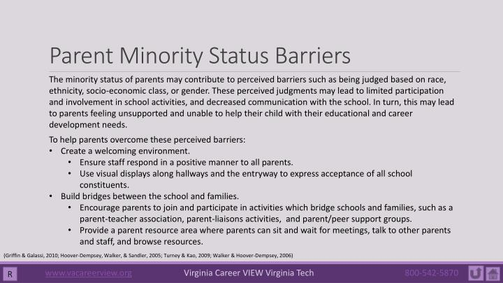 Parent Minority Status Barriers