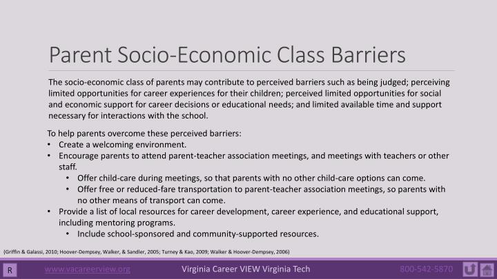 Parent Socio-Economic Class Barriers