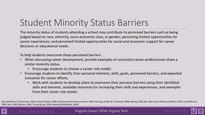 Student Minority Status Barriers