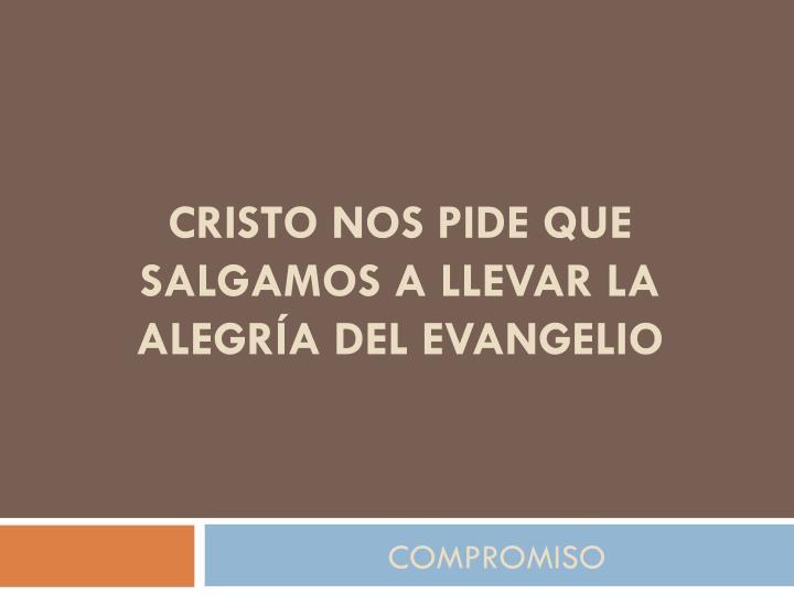 Cristo nos pide que salgamos a llevar la alegría del Evangelio