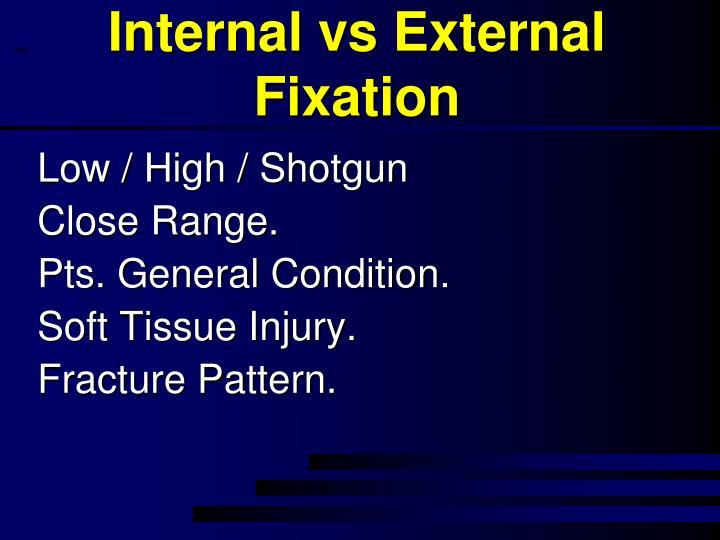 Internal vs External Fixation