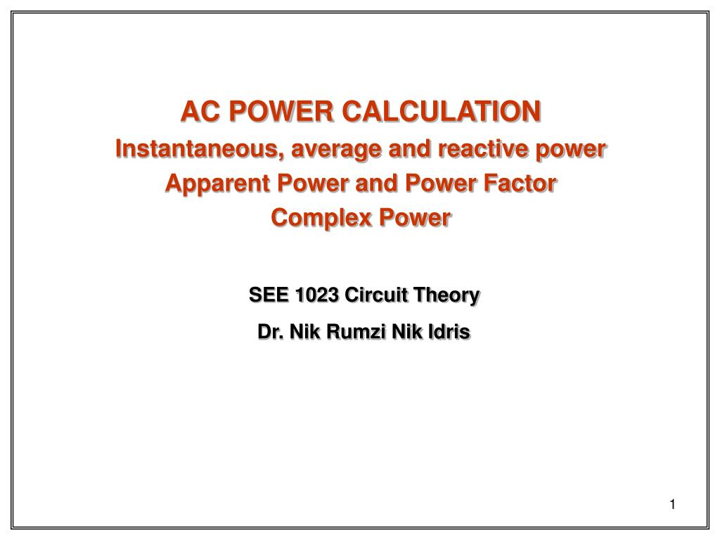 Ppt Ac Power Calculation Instantaneous Average And Reactive Circuit Calculator Apparent Factor Powerpoint Presentation Id4842372