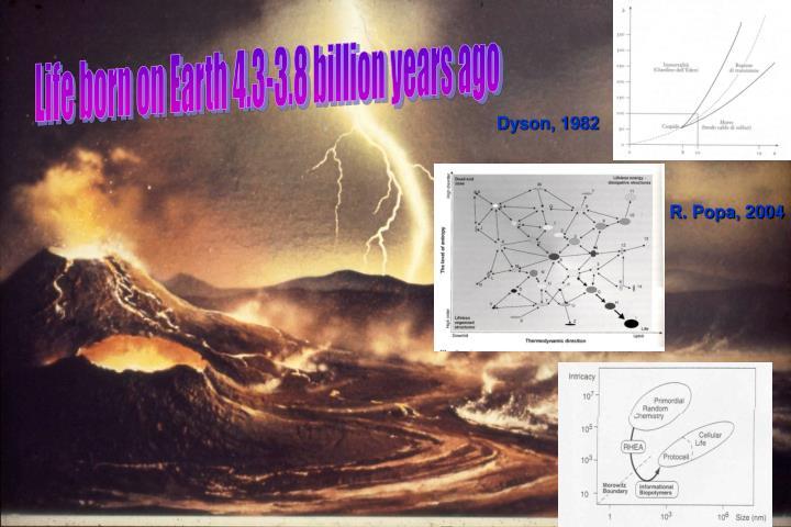 Life born on Earth 4.3-3.8 billion years ago
