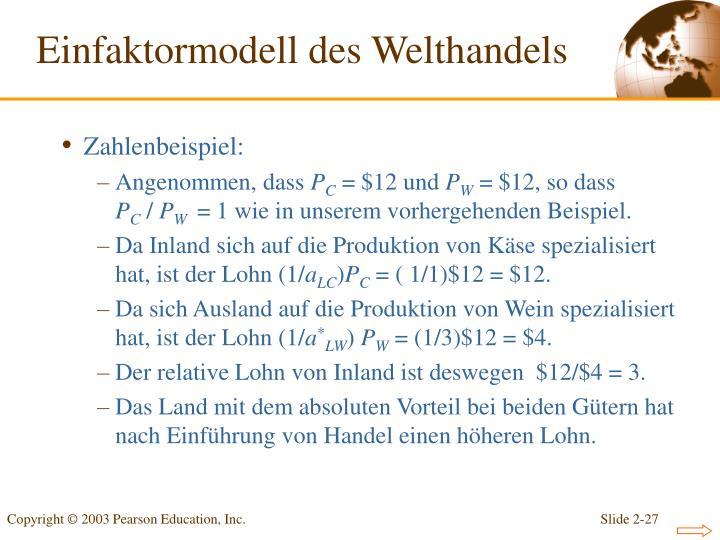 Einfaktormodell des Welthandels