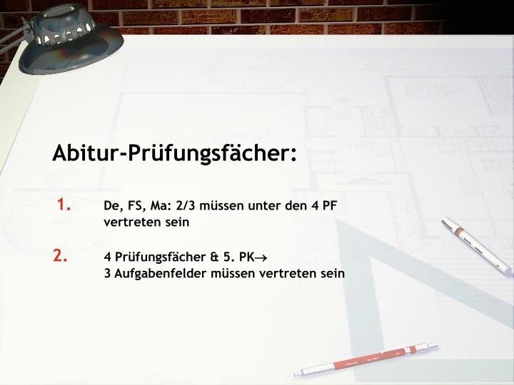 Abitur-Prüfungsfächer: