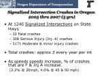 signalized intersection crashes in oregon 2003 thru 2007 5 yrs