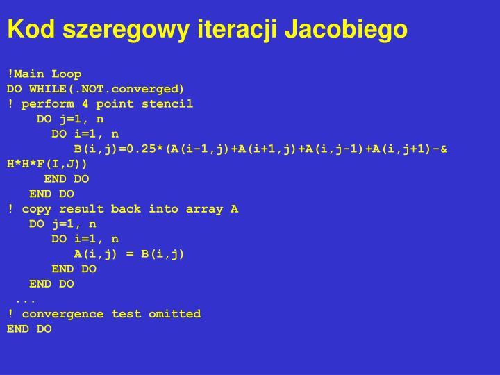 Kod szeregowy iteracji Jacobiego