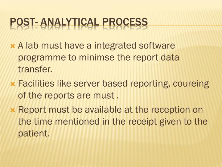 A lab must have a integrated software