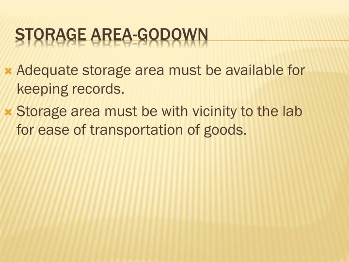 Adequate storage area must be available for keeping records.