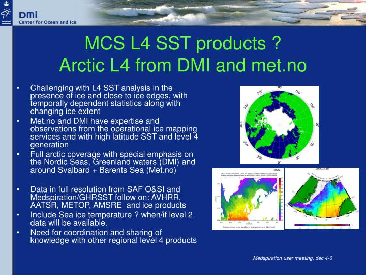 MCS L4 SST products ?